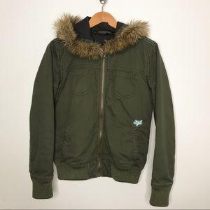 Fox Racing Green Bomber Jacket with Faux Fur Hood